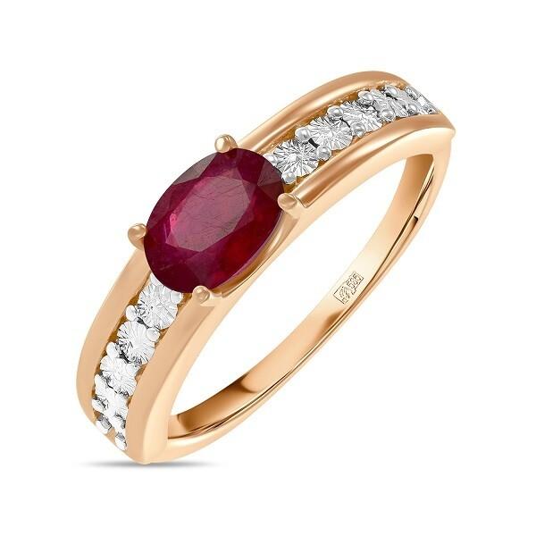 Кольцо с рубином R01-C-L-PL-35412-RO
