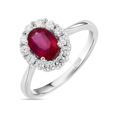 Кольцо с рубином и выращенными бриллиантами R01-C-L-MLN35723-RO