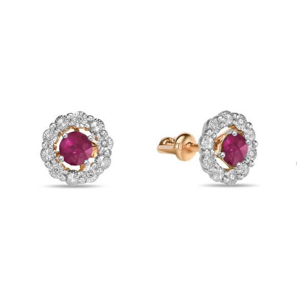 Серьги с рубинами и бриллиантами E01-D-L-34869-RU