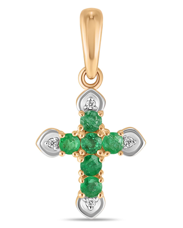 Крест с изумрудами и бриллиантами J01-D-SS-35494-EM