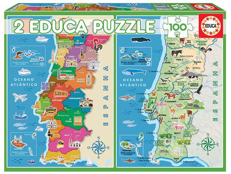 PUZZLE 2x100pcs Distritos de Portugal - EDUCA