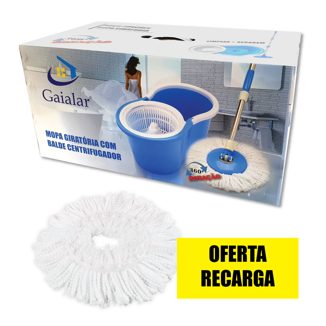 MOPA giratória 360º C/ BALDE CENTRIFUGADOR - Oferta Recarga