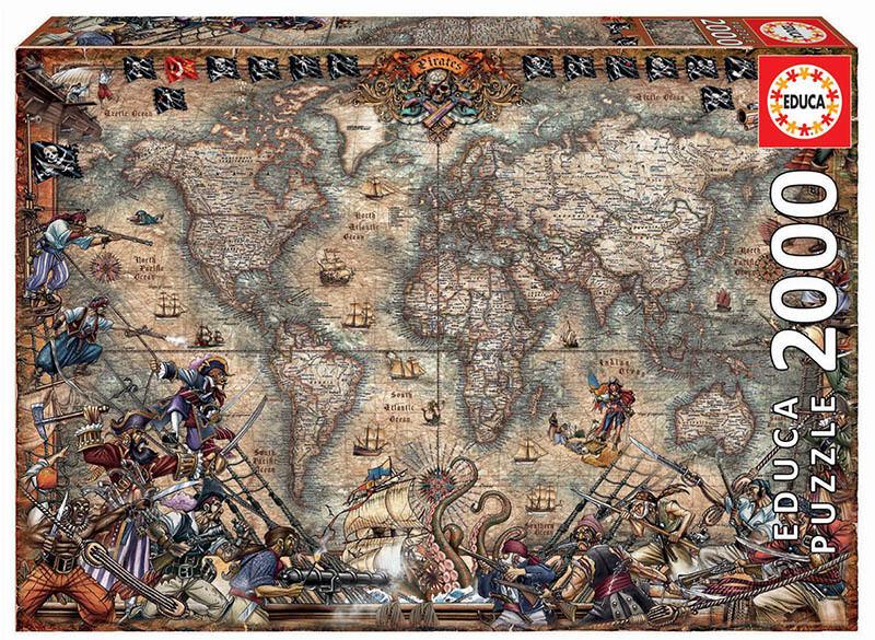 PUZZLE 2000pcs Mapa de Piratas - EDUCA