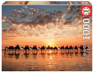 PUZZLE 1000 pcs - Entardecer Dourado em Cable Beach - Austrália - EDUCA