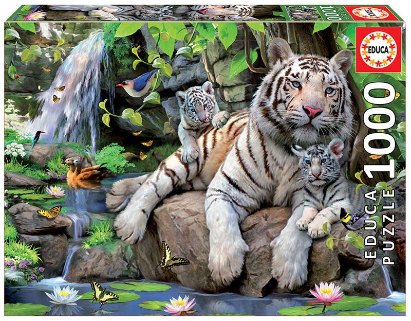 PUZZLE 1000 pcs Tigres Brancos de Bengala - EDUCA