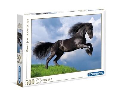 PUZZLE 500 HQ Fresian Black Horse - CLEMENTONI