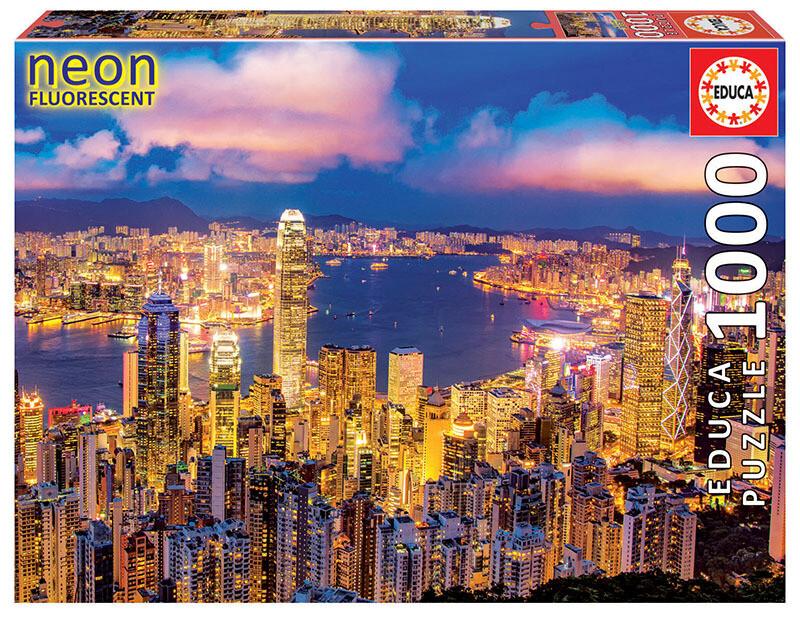 "PUZZLE 1000pcs Hong Kong ""NEON FLUORESCENT"" - EDUCA"