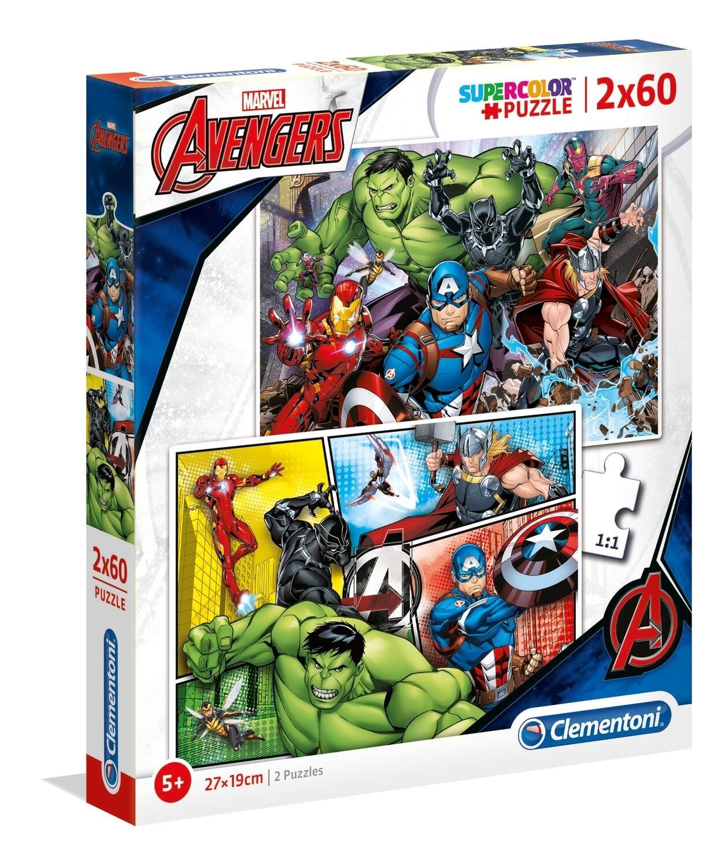 PUZZLE Super 2x60 pcs Vingadores Marvel - CLEMENTONI