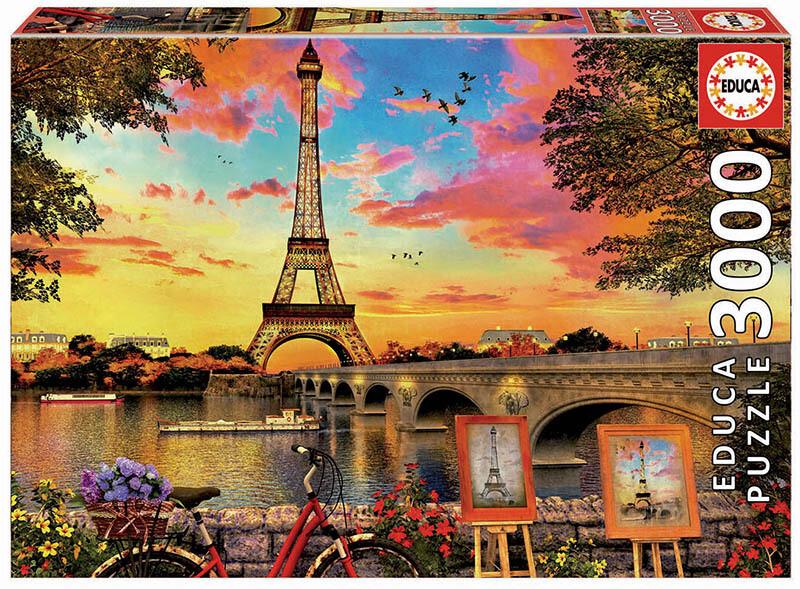 PUZZLE 3000 pcs Pôr-do-Sol em Paris - EDUCA