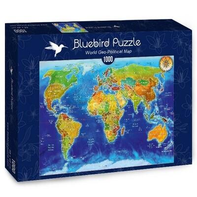 PUZZLE 1000 pcs - Mapa Mundial Geo-Político - BLUEBIRD