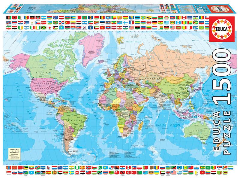 PUZZLE 1500 pcs - Mapa Mundo político - EDUCA