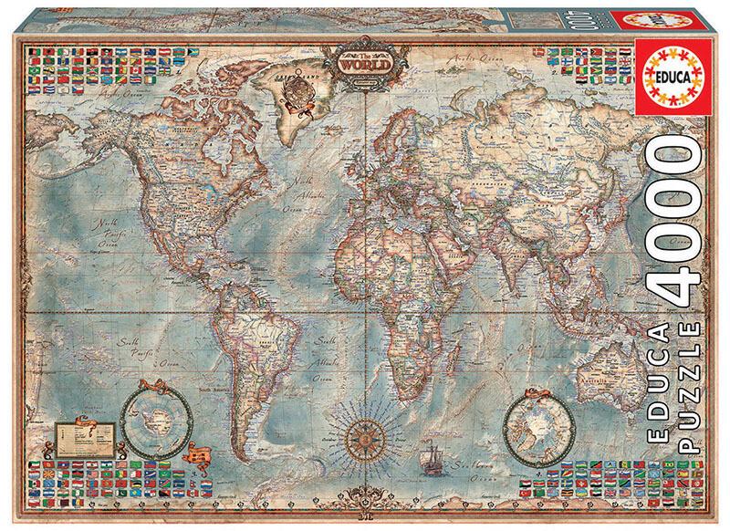 PUZZLE 4000 pcs Mapa Mundo - EDUCA
