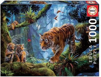 PUZZLE 1000 pcs Tigres na Árvore - EDUCA