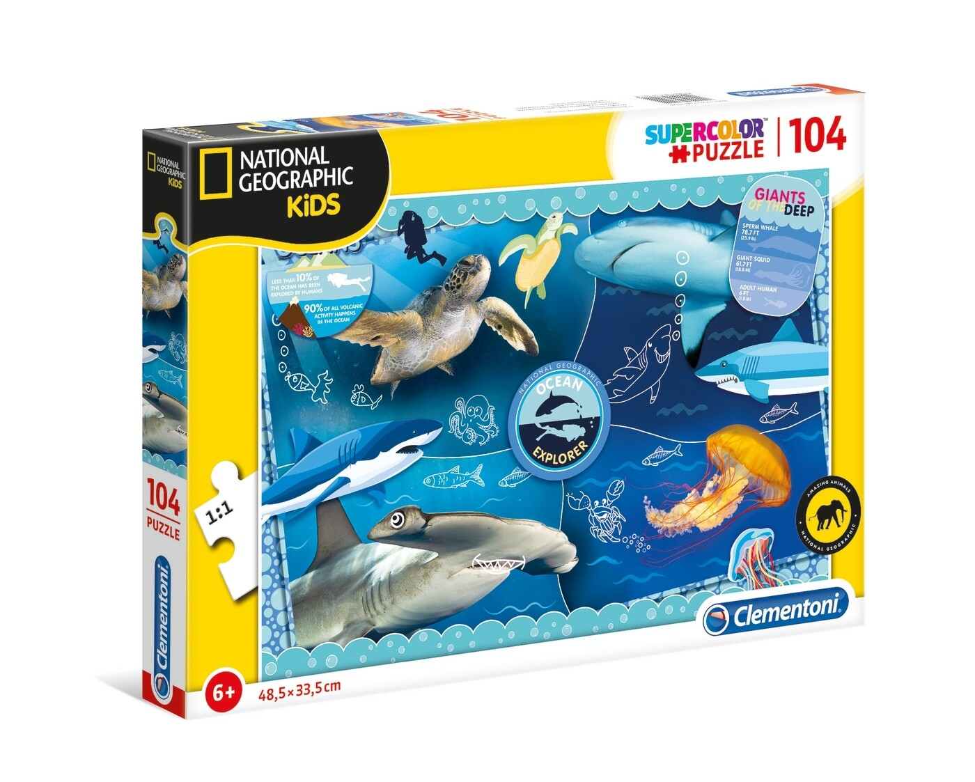 PUZZLE Super 104pcs National Geographic - Oceanos - CLEMENTONI