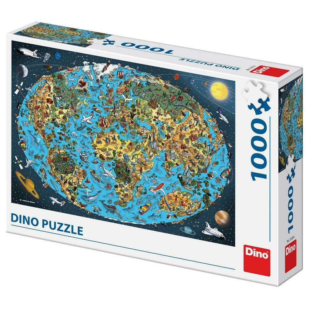 PUZZLE 1000 pcs - Mapa Mundo Ilustrado - DINO