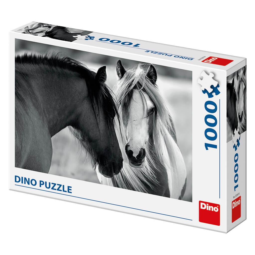 PUZZLE 1000 pcs - Black and White Horses - DINO