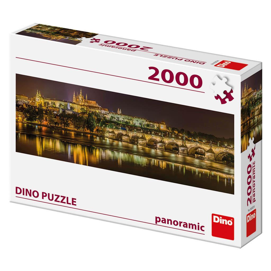 PUZZLE 2000 pcs - Charles Bridge at Night - Panoramic - DINO
