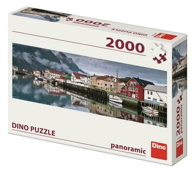 PUZZLE 2000 pcs - Fishing Village - Panoramic - DINO