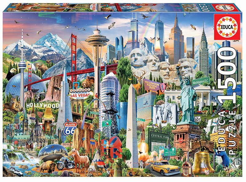 PUZZLE 1500 pcs Símbolos da América  - EDUCA