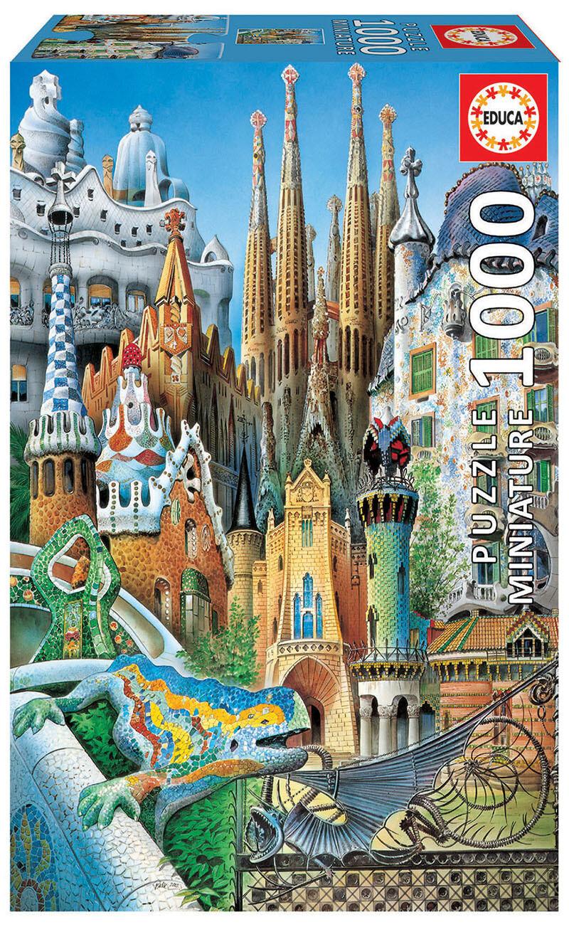 PUZZLE 1000 pcs MINI - Collage Gaudi - EDUCA