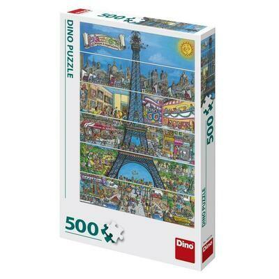 PUZZLE 500 pcs - Torre Eiffel Ilustrada - DINO