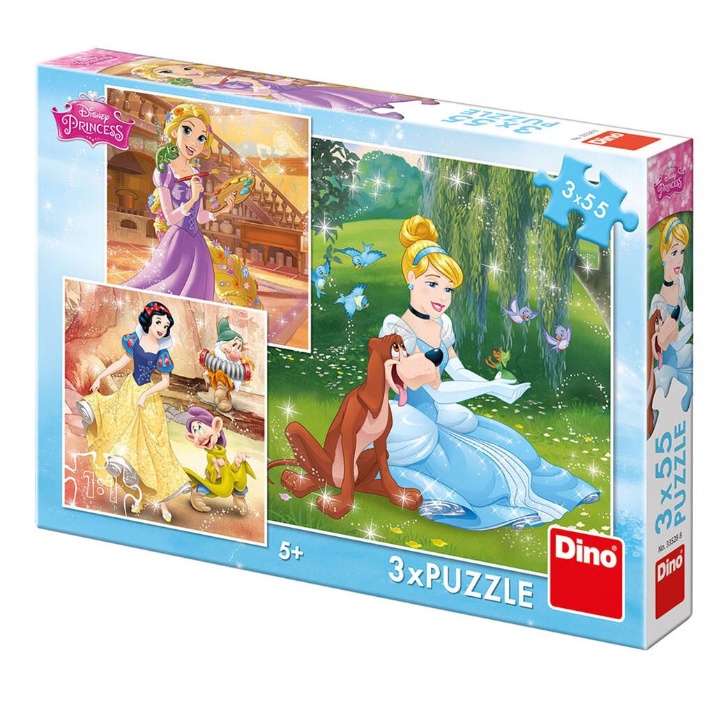 PUZZLE 3x55 pcs - Princesas - Tarde Livre - Disney - DINO