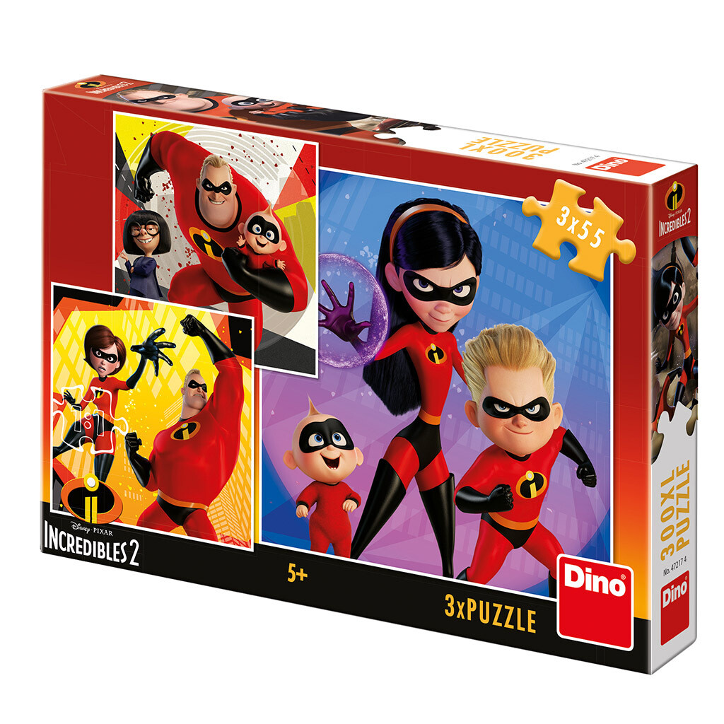 PUZZLE 3x55 pcs - The Incredibles 2: Heróis - Disney - DINO