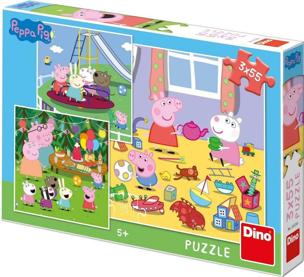 PUZZLE 3x55 pcs - Peppa Pig - Férias - DINO
