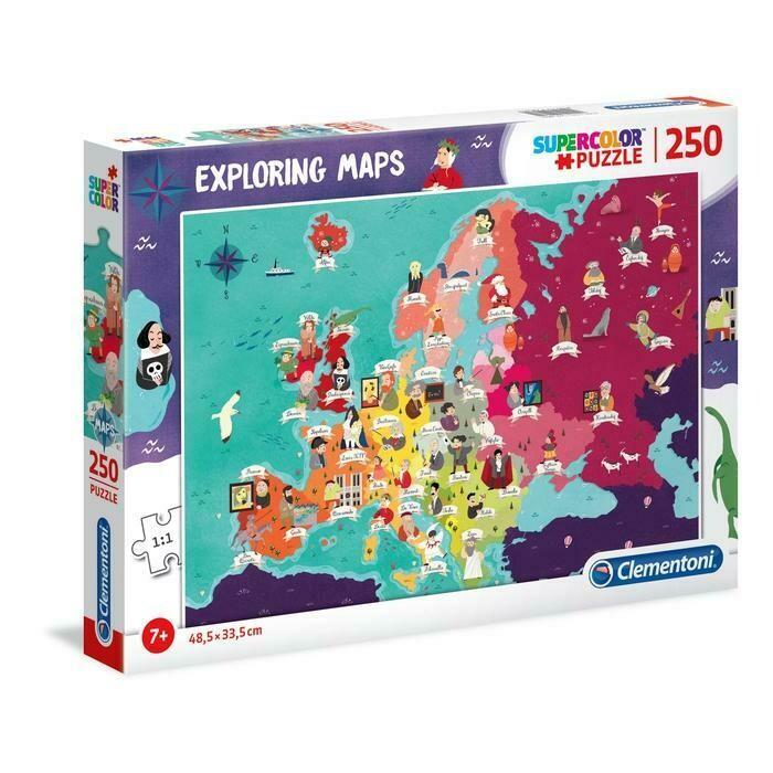 PUZZLE Super 250 pcs Mapa Europa - Grandes Europeus - CLEMENTONI