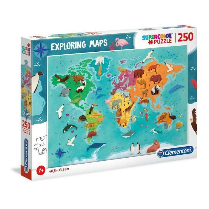 PUZZLE Super 250 pcs Mapa Mundo - Animais - CLEMENTONI