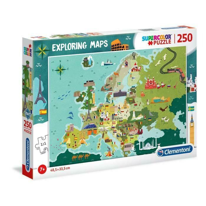 PUZZLE Super 250 pcs Mapa Europa - Monumentos Europeus - CLEMENTONI