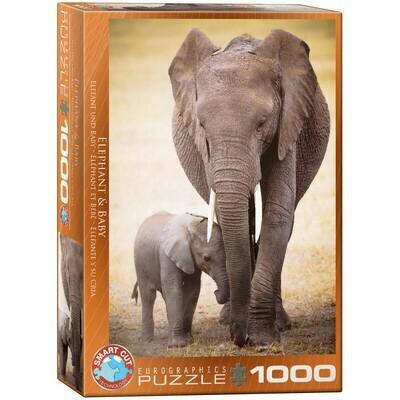 PUZZLE 1000 pcs Elefante e Cria - Eurographics