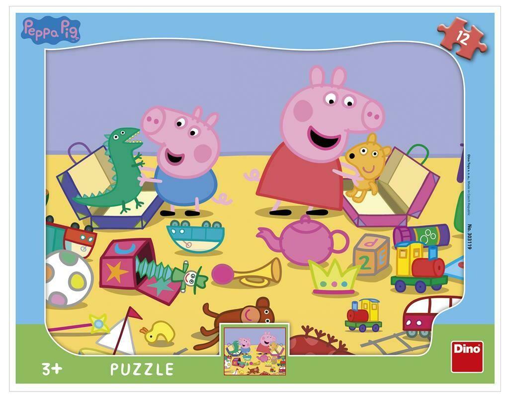 PUZZLE Frame 12 pcs - Peppa Pig - Jardim Escola - DINO