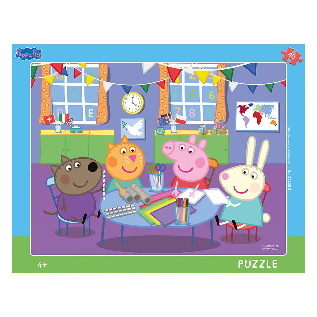 PUZZLE Frame 40 pcs - Peppa Pig - Jardim Escola - DINO