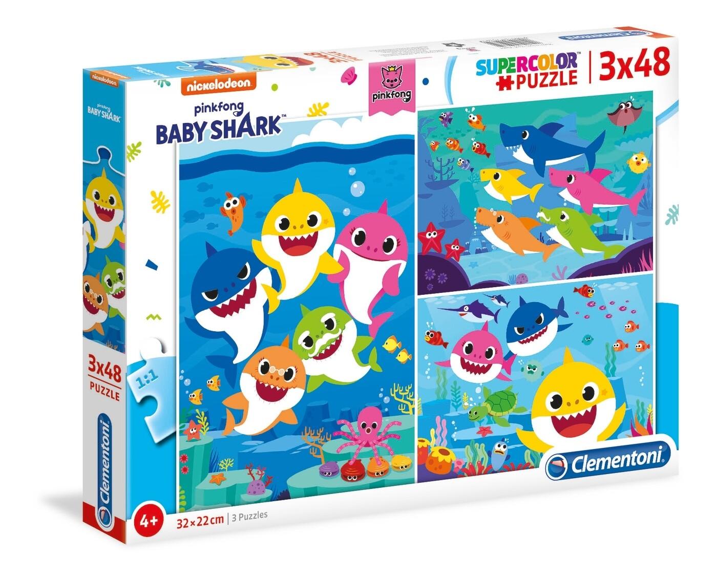 PUZZLE Baby Shark - 3x48 pcs - CLEMENTONI