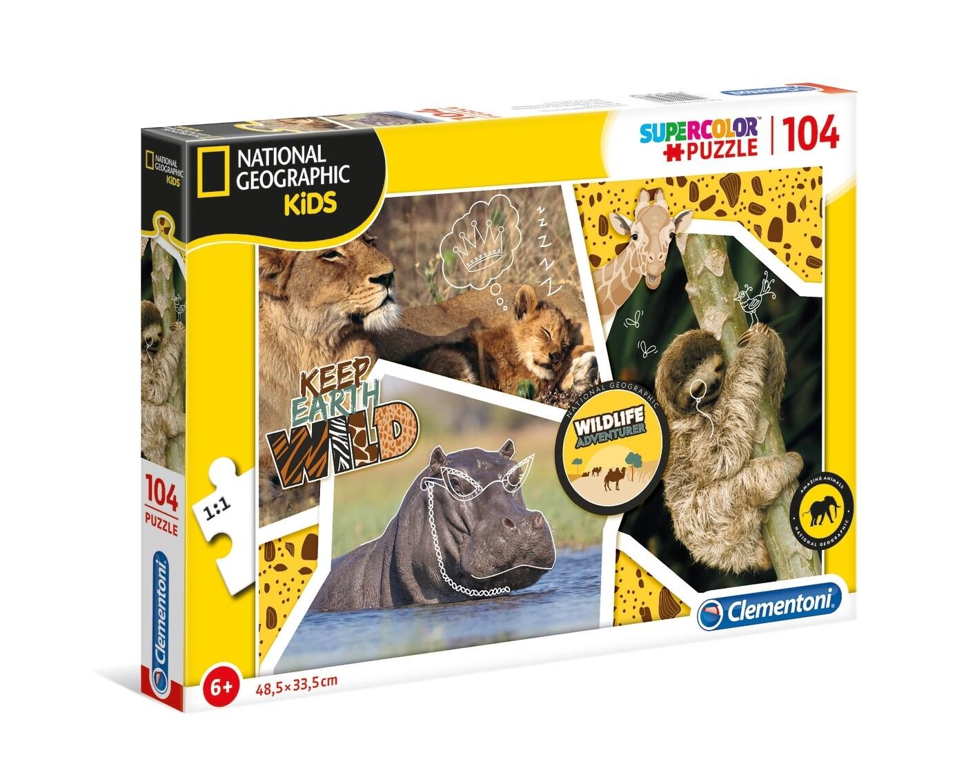 PUZZLE Super 104 pcs National Geographic - Vida Selvagem - CLEMENTONI