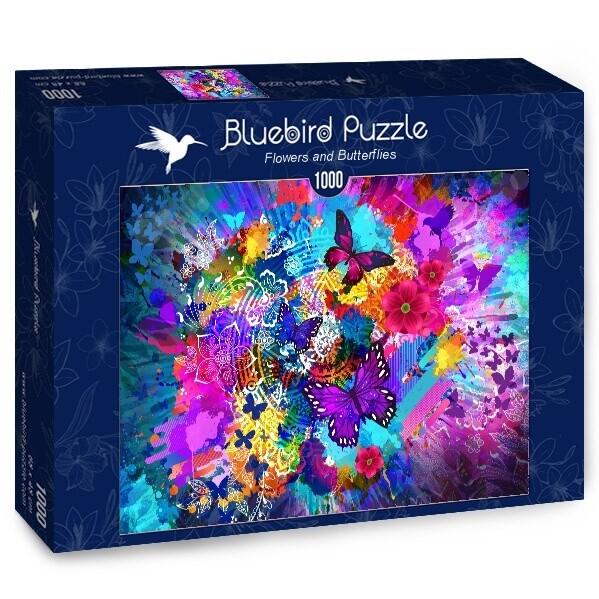 PUZZLE 1000 pcs - Flowers and Butterflies - BLUEBIRD