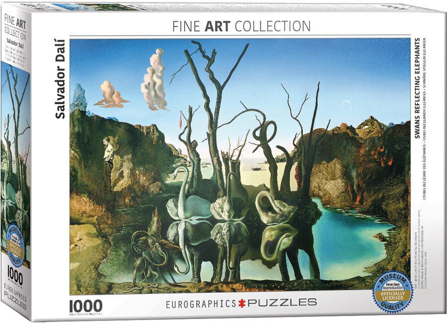 PUZZLE 1000 pcs Cisnes e Elefantes- Salvador Dalí - Eurographics