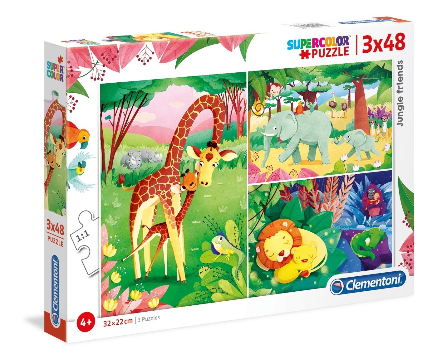 PUZZLE Jungle Friends 3x48 pcs - CLEMENTONI