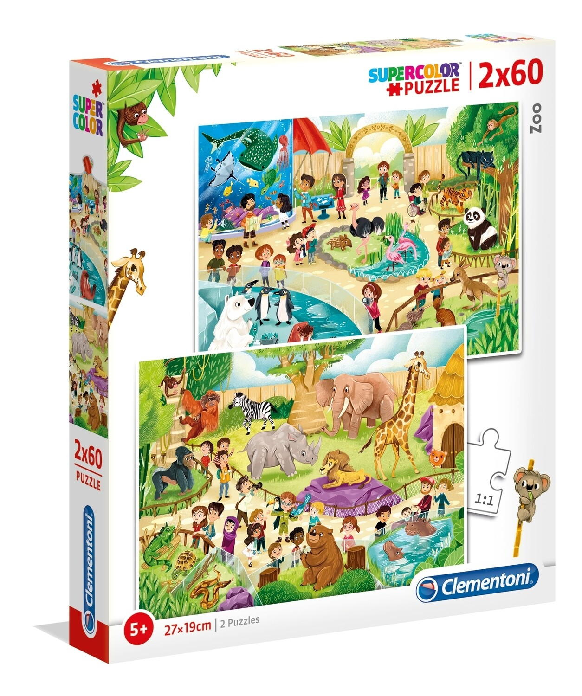 PUZZLE Super 2x60 pcs Zoo - CLEMENTONI