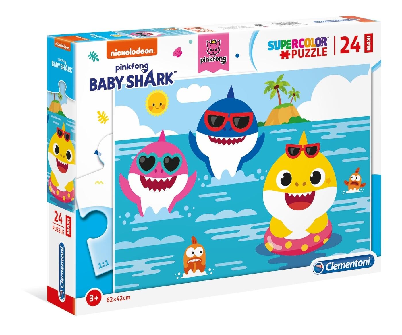 PUZZLE Supercolor MAXI - 24 pcs -Baby Shark - CLEMENTONI