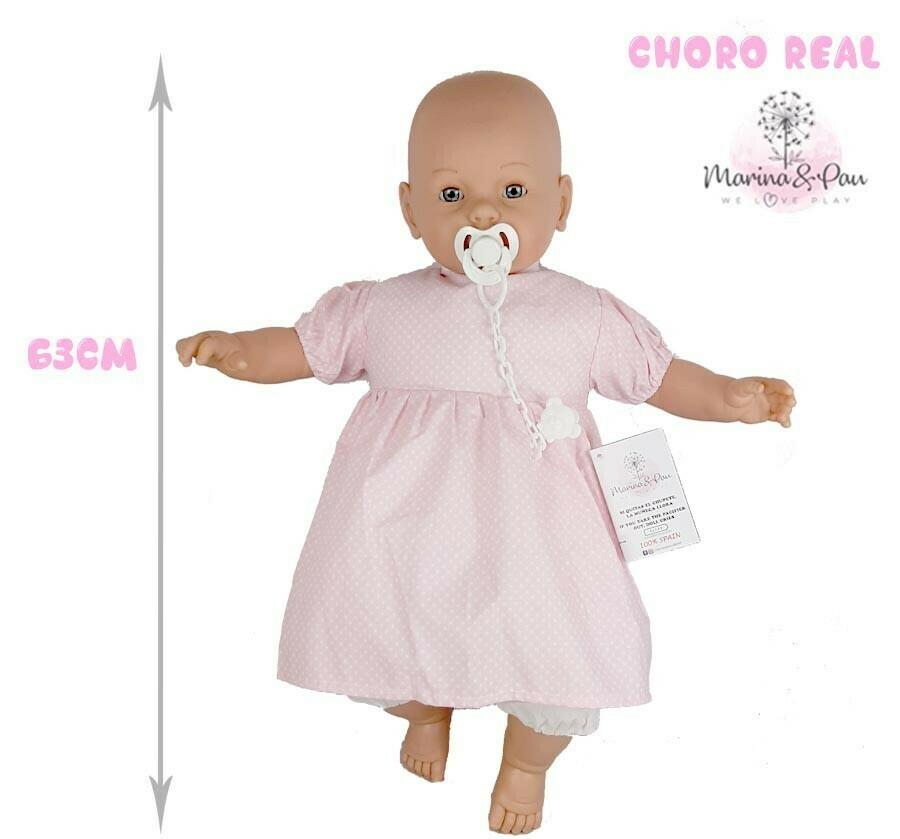 Bebé Careca 63cm com choro e chupeta