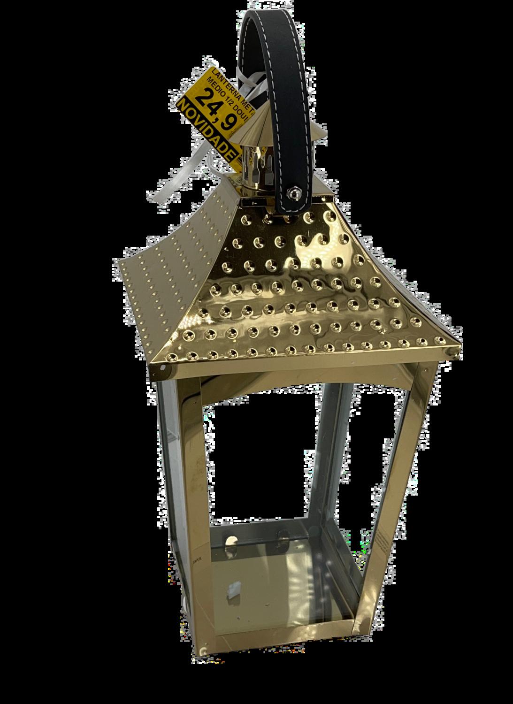 LANTERNA Dourada 15x30cm c/pega em pele
