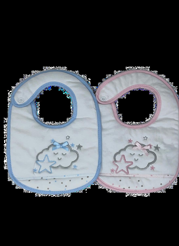2 Babetes cores sortidas - Nuvem Dorminhoca - 100% Algodão