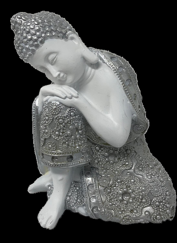 Deusa Hindu Branco c/Prata 15cm 77324
