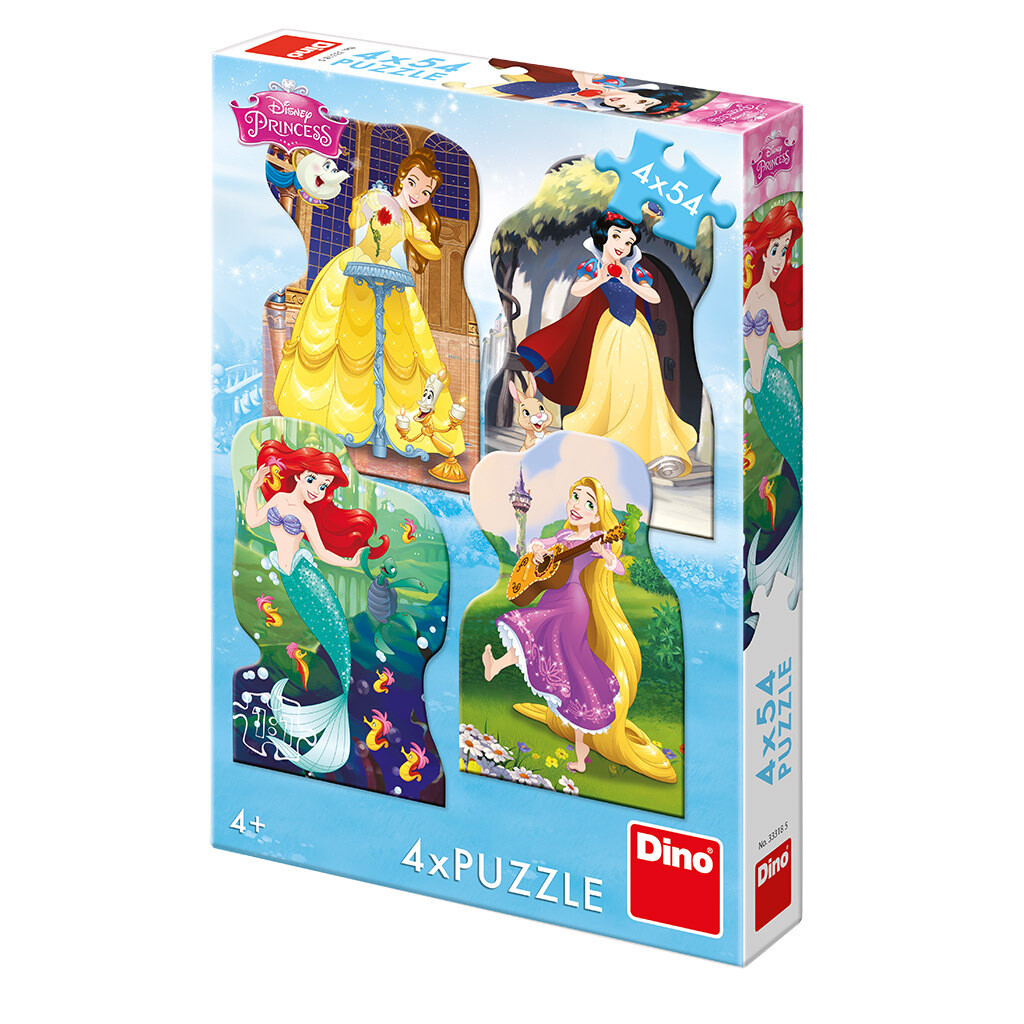 PUZZLE 4x54 pcs - Princesas e Amigos - Disney - DINO