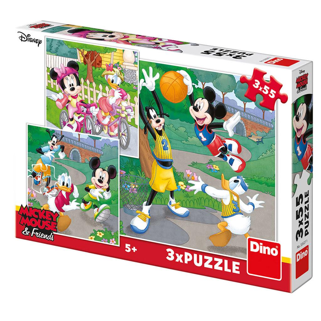PUZZLE 3x55 pcs - Mickey e Minnie Desportistas - Disney - DINO