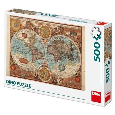 PUZZLE 500 pcs - Mapa Mundial de 1626 - DINO