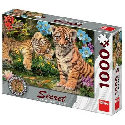 PUZZLE 1000 pcs - Tigres - SECRET Colection - DINO