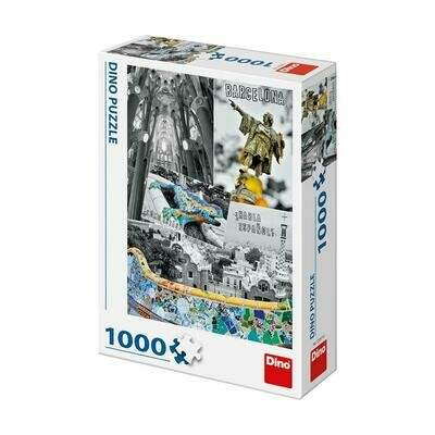 PUZZLE 1000 pcs - Barcelona Collage - DINO